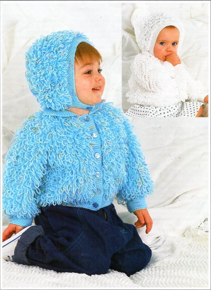 b16522042 baby   childs DK loopy jacket hat knitting pattern pdf baby loop ...