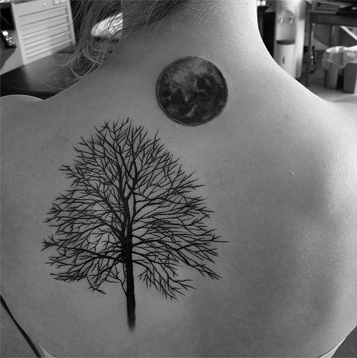 Moon and Tree tattoo by Karrie Arthurs from Calgary. Check