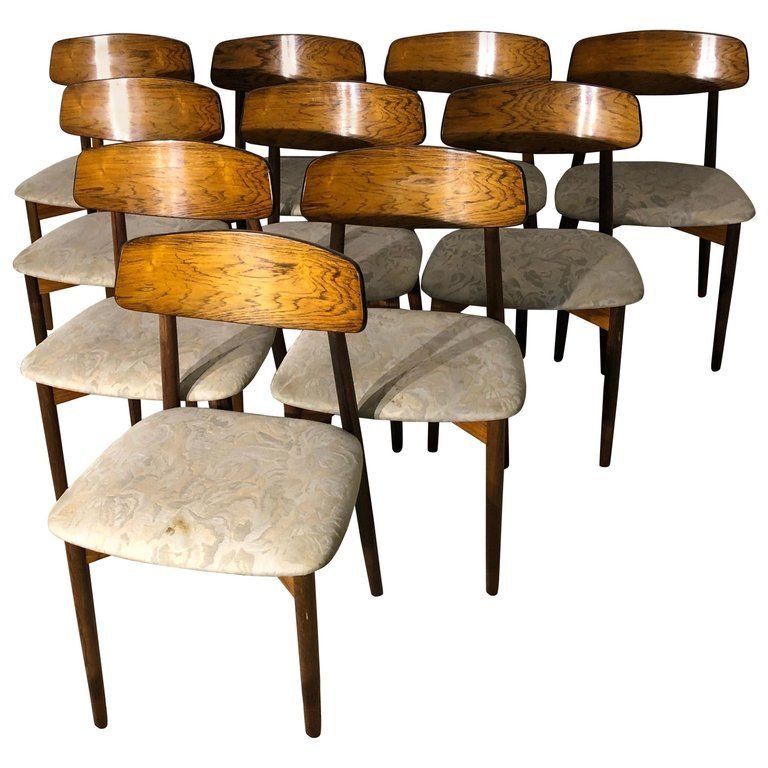 Needs Recovering But Gorgeous Wood Set Of 10 Rosewood Dining Chairs By Harry Ostergaard Midcentury Modern Dining Chairs Dining Room Chairs Modern Dining Chairs