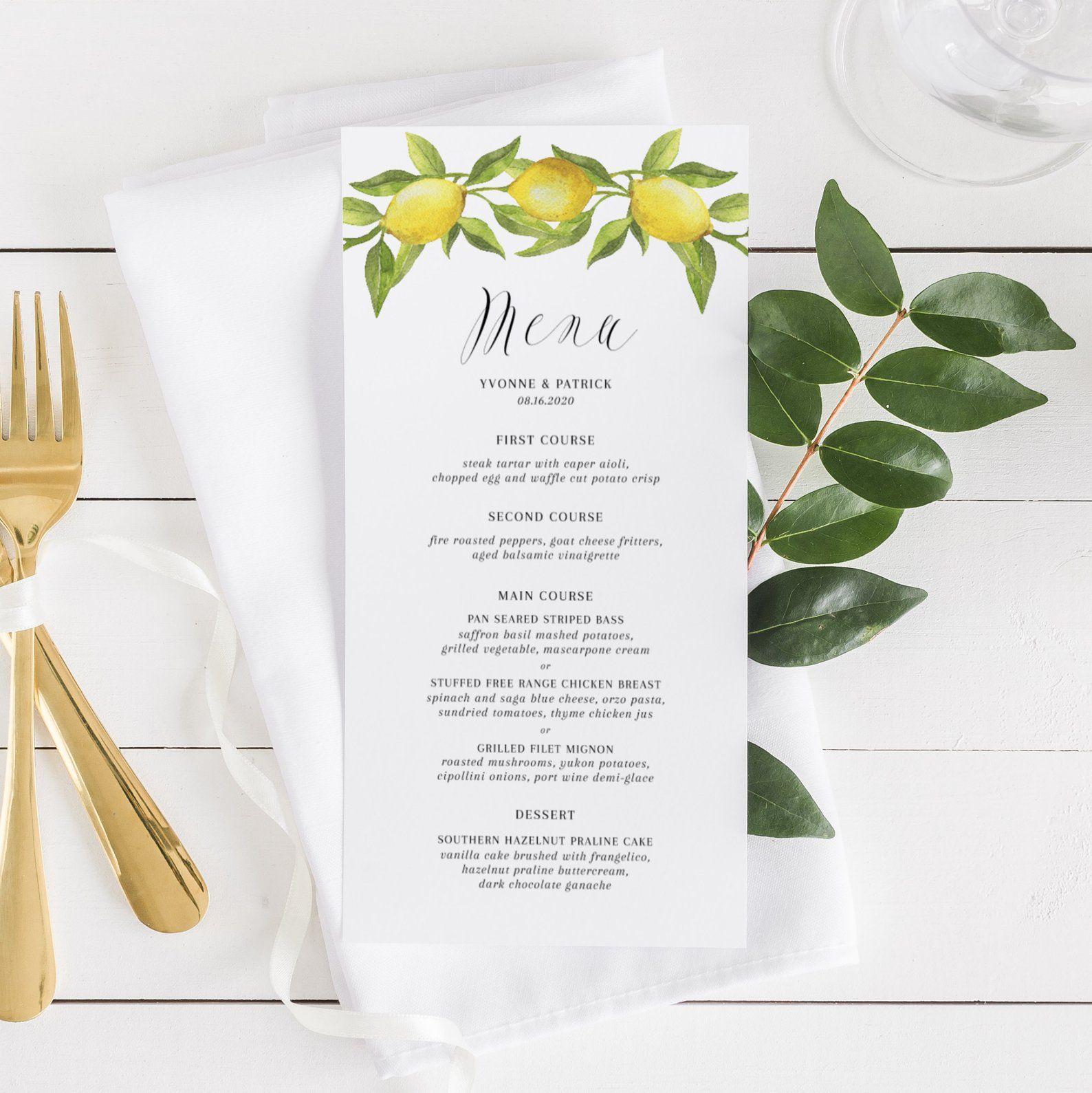 Lemon Wedding Menu Card Template Printable Watercolor Lemon Etsy Menu Card Template Menu Cards Wedding Menu Cards