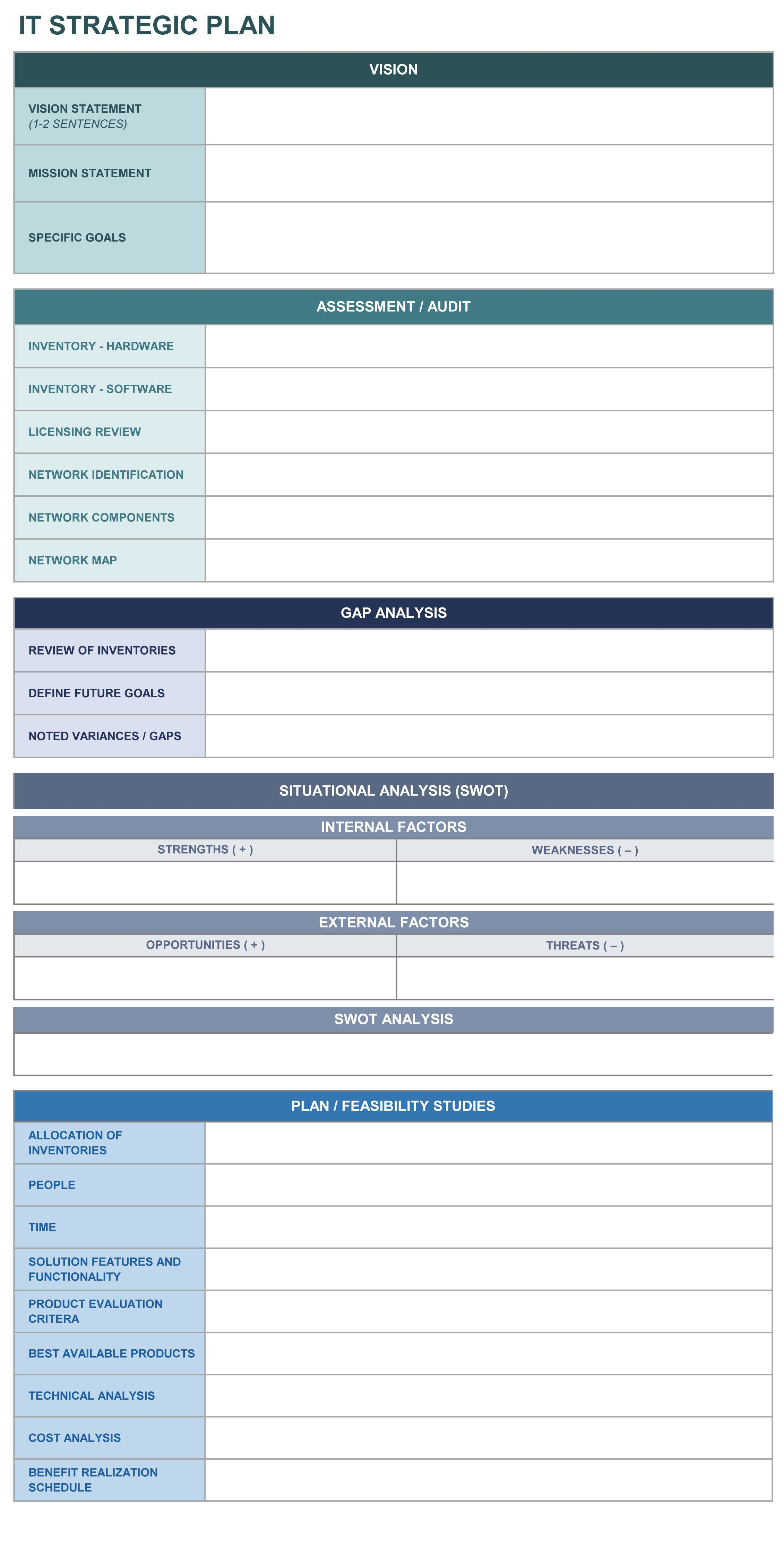 It Strategic Plan Excel Template  Bit Of This  That Interesting