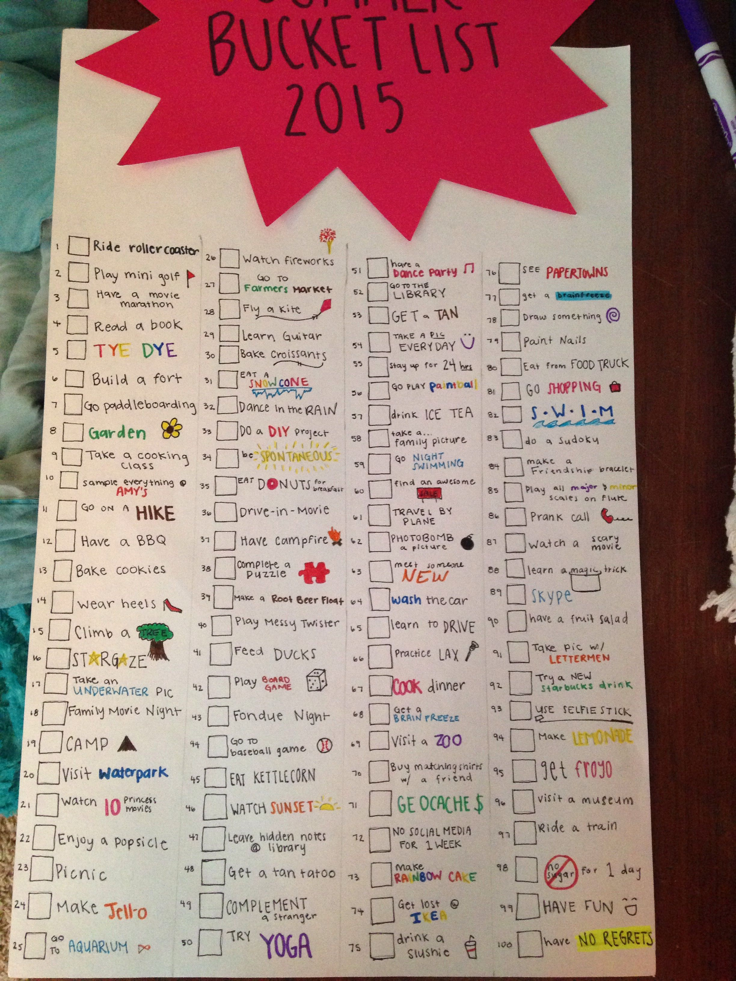 Summer Bucket List And Ideas For Bored Teens End Of Year