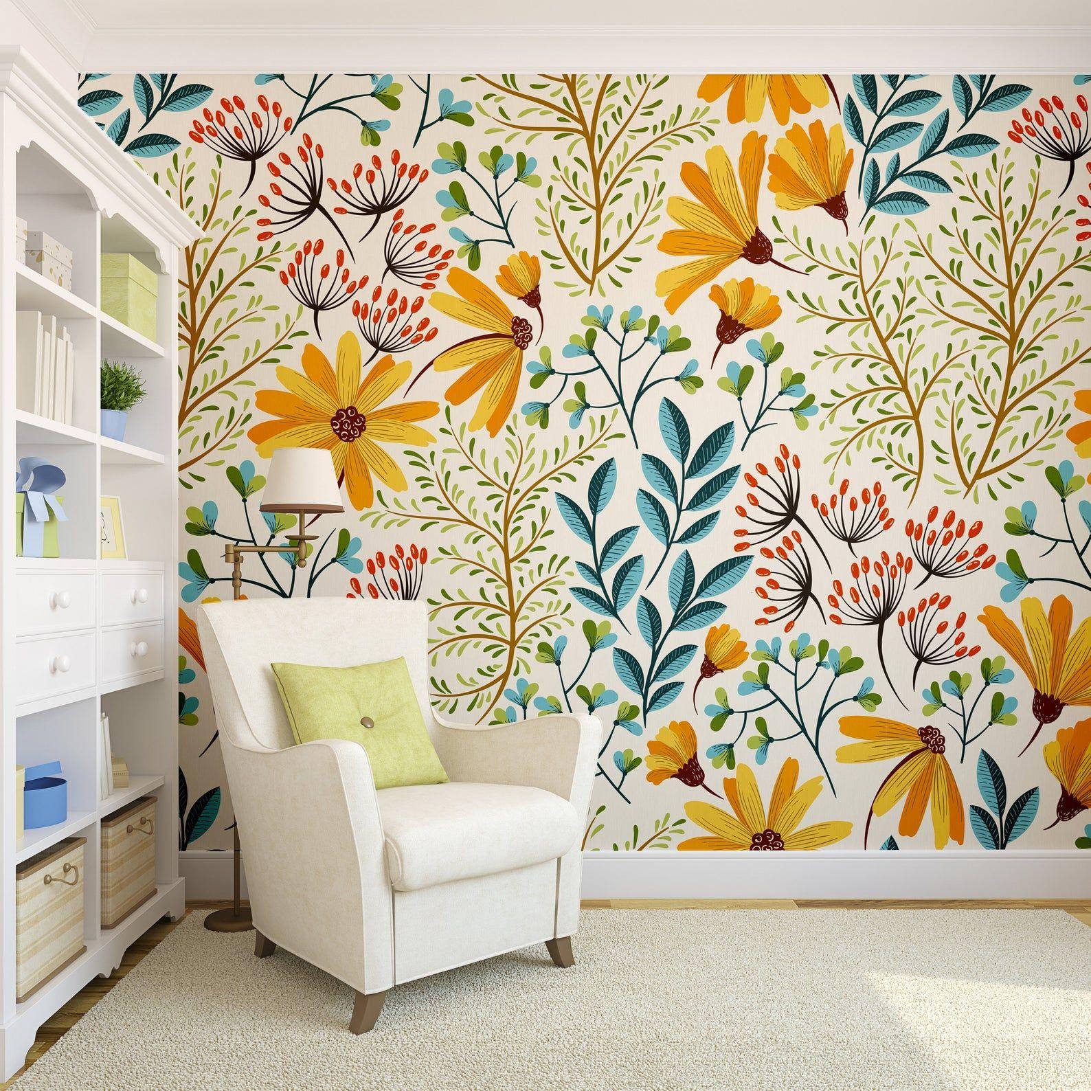 Colorful Flowers Wallpaper Self Adhesive Wallpaper Wall Etsy Wall Wallpaper Room Wallpaper Removable Wallpaper