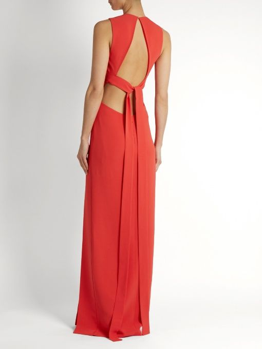 Elie Saab Open-back stretch-cady gown