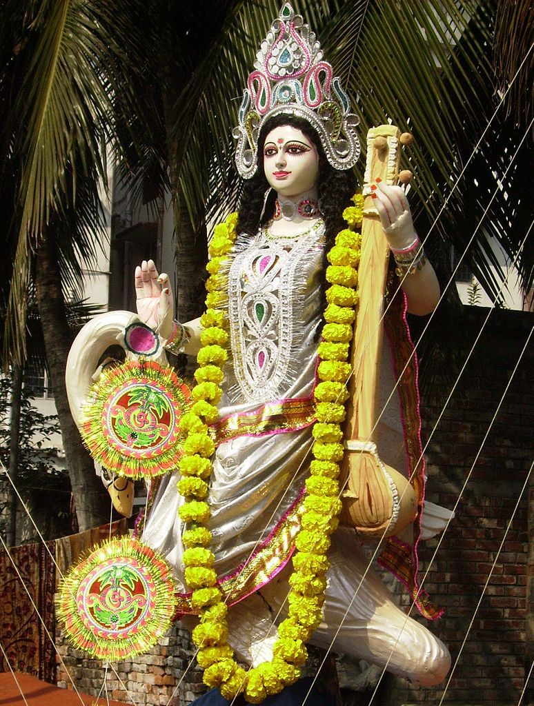 Saraswati ist the Hindu Goddess of Learning, Speech and Arts, in ...