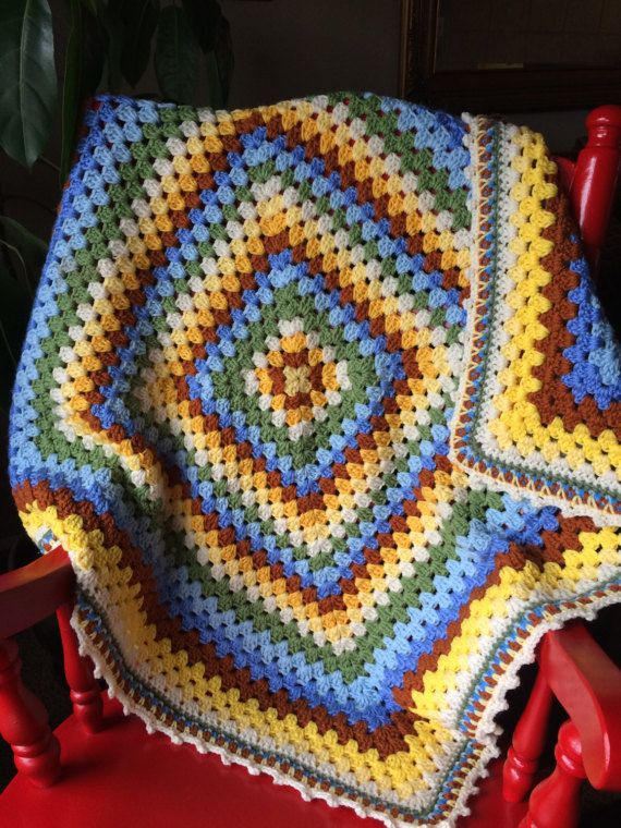 Baby Boy Giant Granny Square Blanket By Grannysknotsboutique