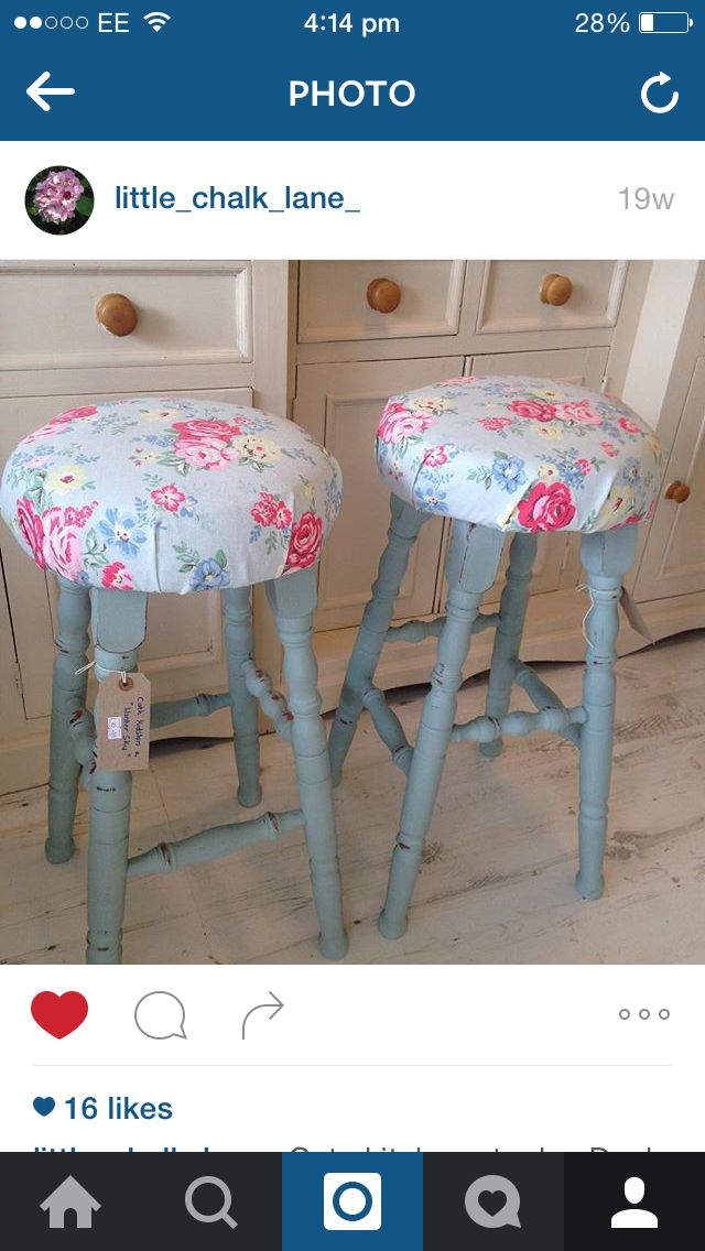 Cath kidston painted stools by Little Chalk Lane