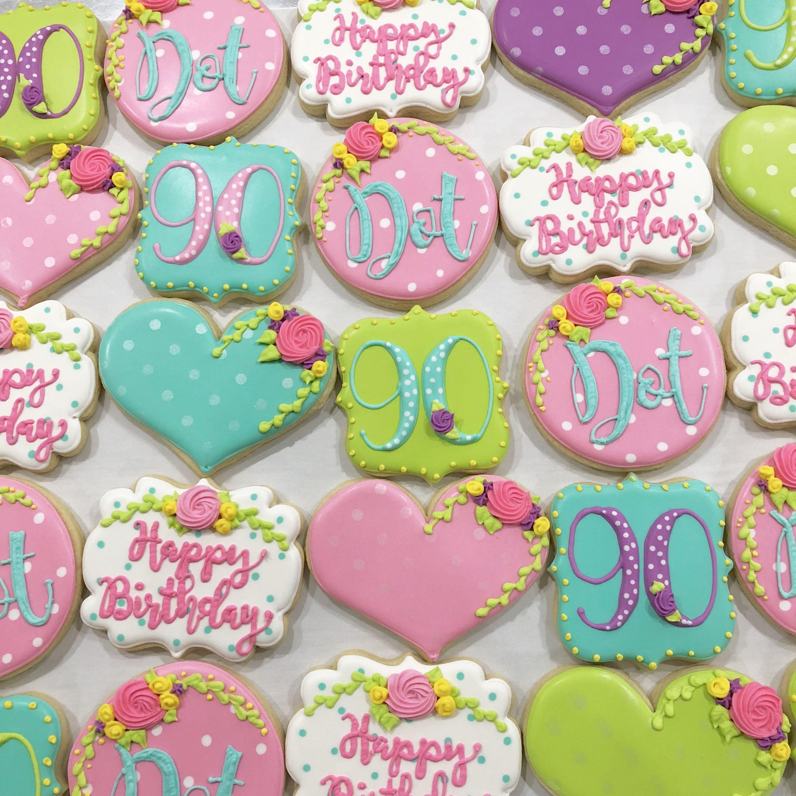90th birthday decorated sugar cookies