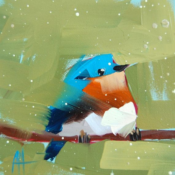 Bluebird no. 43  Image size is 6 x 6 inches (15 x 15 cm). Comes with small white border.  Digital print on acid-free Arches fine art paper. Packaged with stiff backing in a clear sleeve.  Copyright: Angela Moulton ©