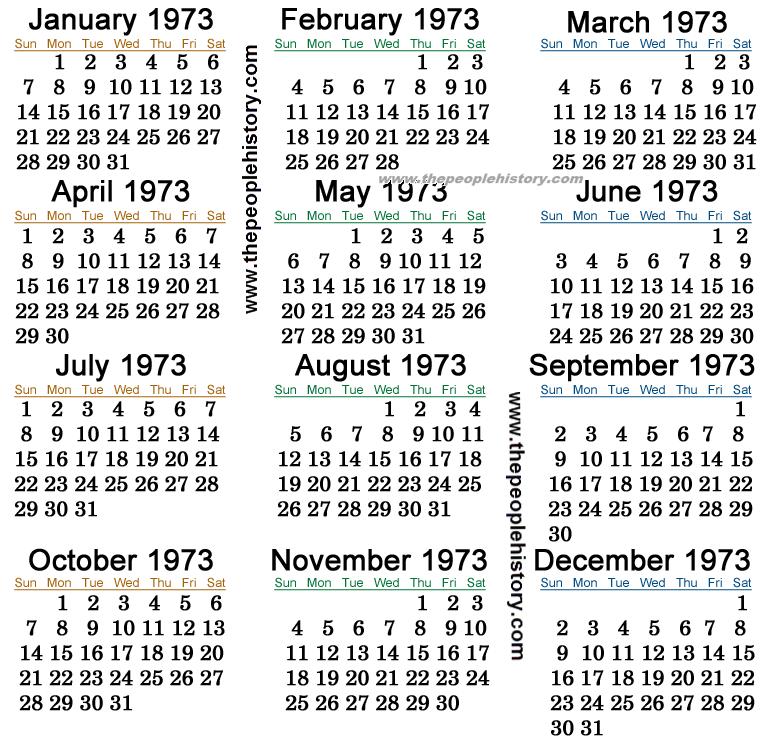 1973 Calendar | Scrapbooking | Pinterest