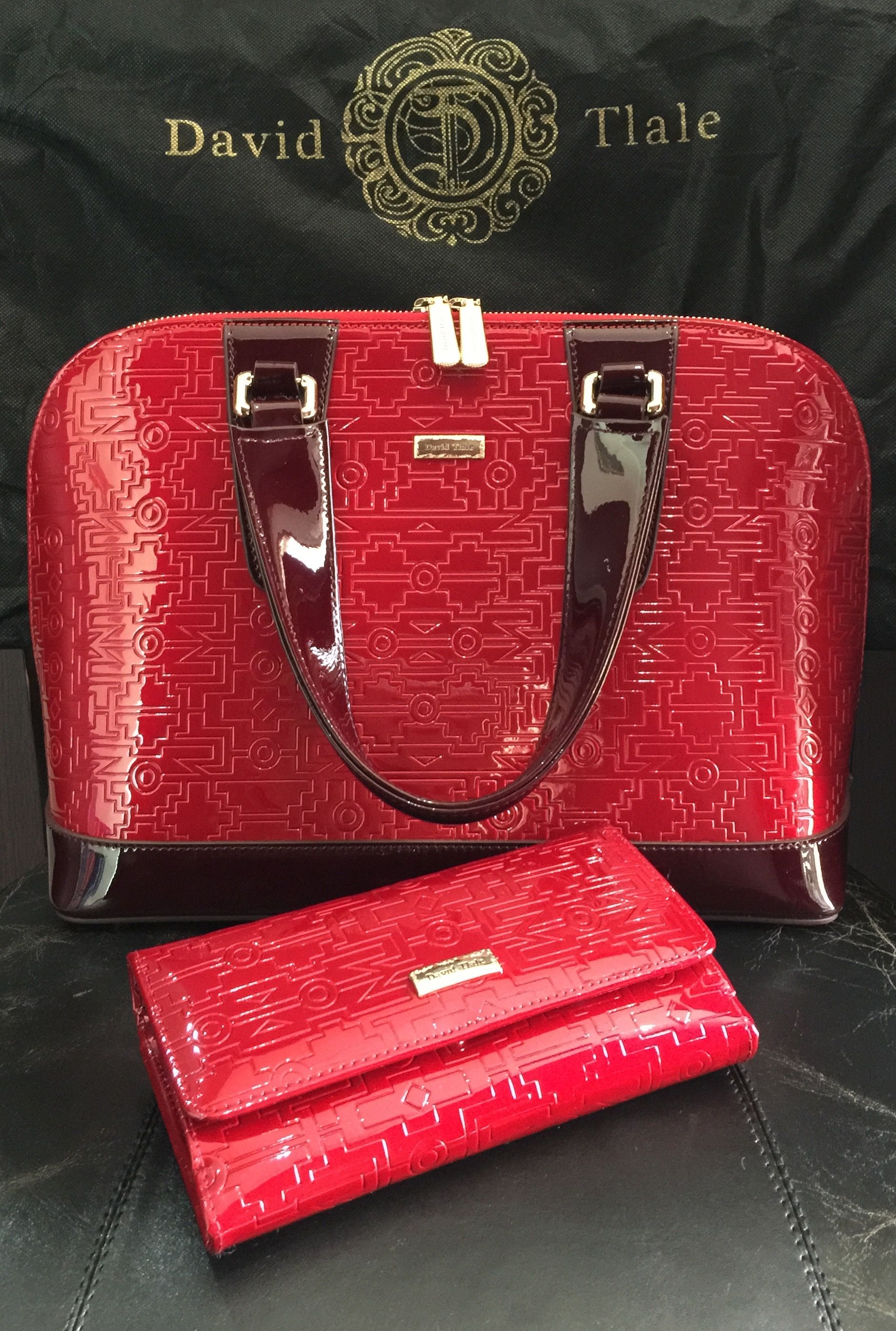David Tlale South African Designer A Beautiful Patent Leather Bag Matching Wallet Design