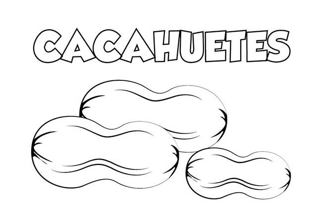 Dibujo colorear cacahuetes | Dibujos de alimentos para colorear ...