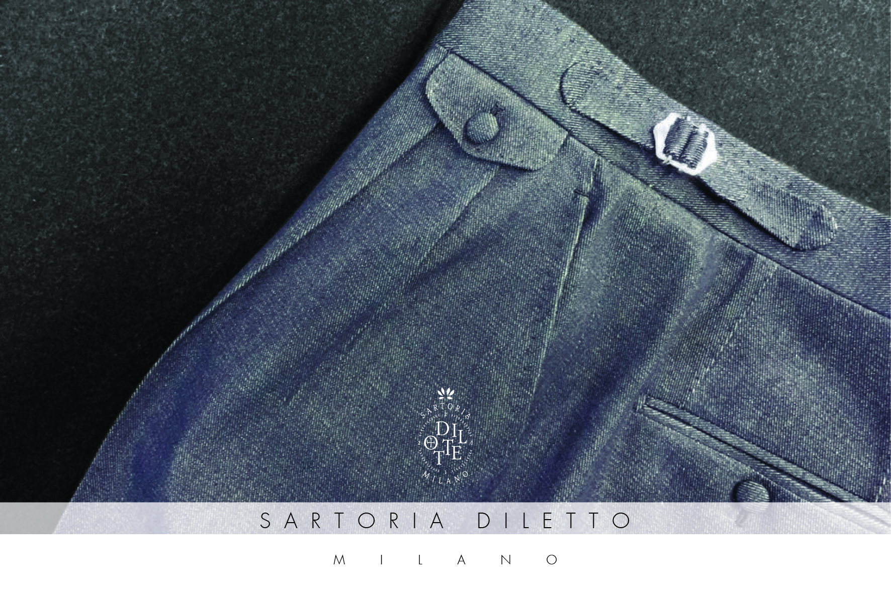 Sartoria Diletto: Trousers. Denim elegant trousers with covered buttons and size-adjuster.