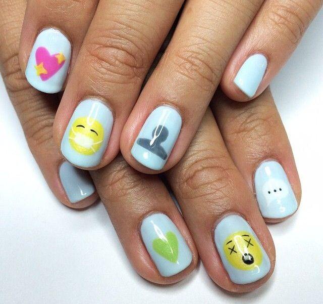 Emoji nail art | Nail Arts | Pinterest | Emoji nails