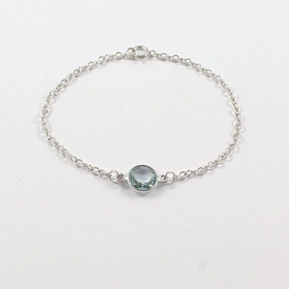 Minimalist sterling silver chain bracelet with blue by Freesize