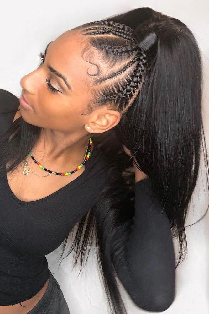 Cornrows Into High Sleek Pony ❤️ Looking for cornrows braids for black women? These straight back cornrows, big braided updo, side braided hairstyle and lots of cool hairdos will make you look like goddesses. ❤️