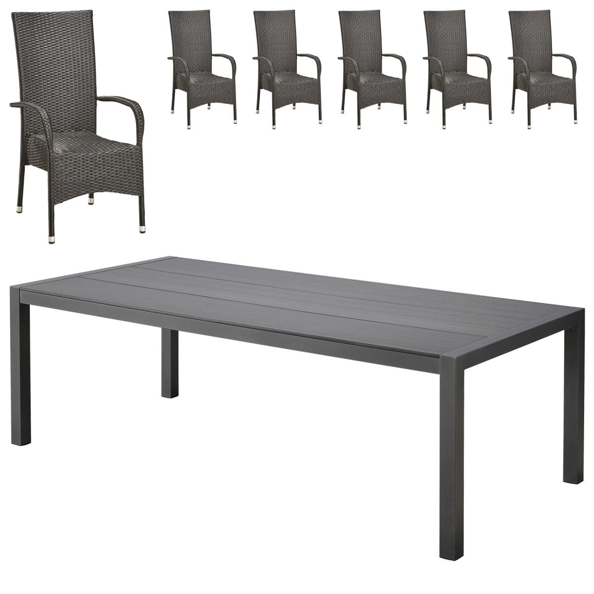Gartenmöbel-Set Atlanta/ Palermo XL (1 Tisch, 6 Stapelstühle) Jetzt ...