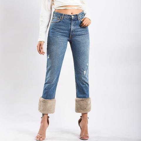 5773155435d Winter 2018 Female Boyfriend Jeans For Women Gray High Waist Loose Ladies  Jeans Woman Denim Mom Jeans Pants Plus Size Trousers