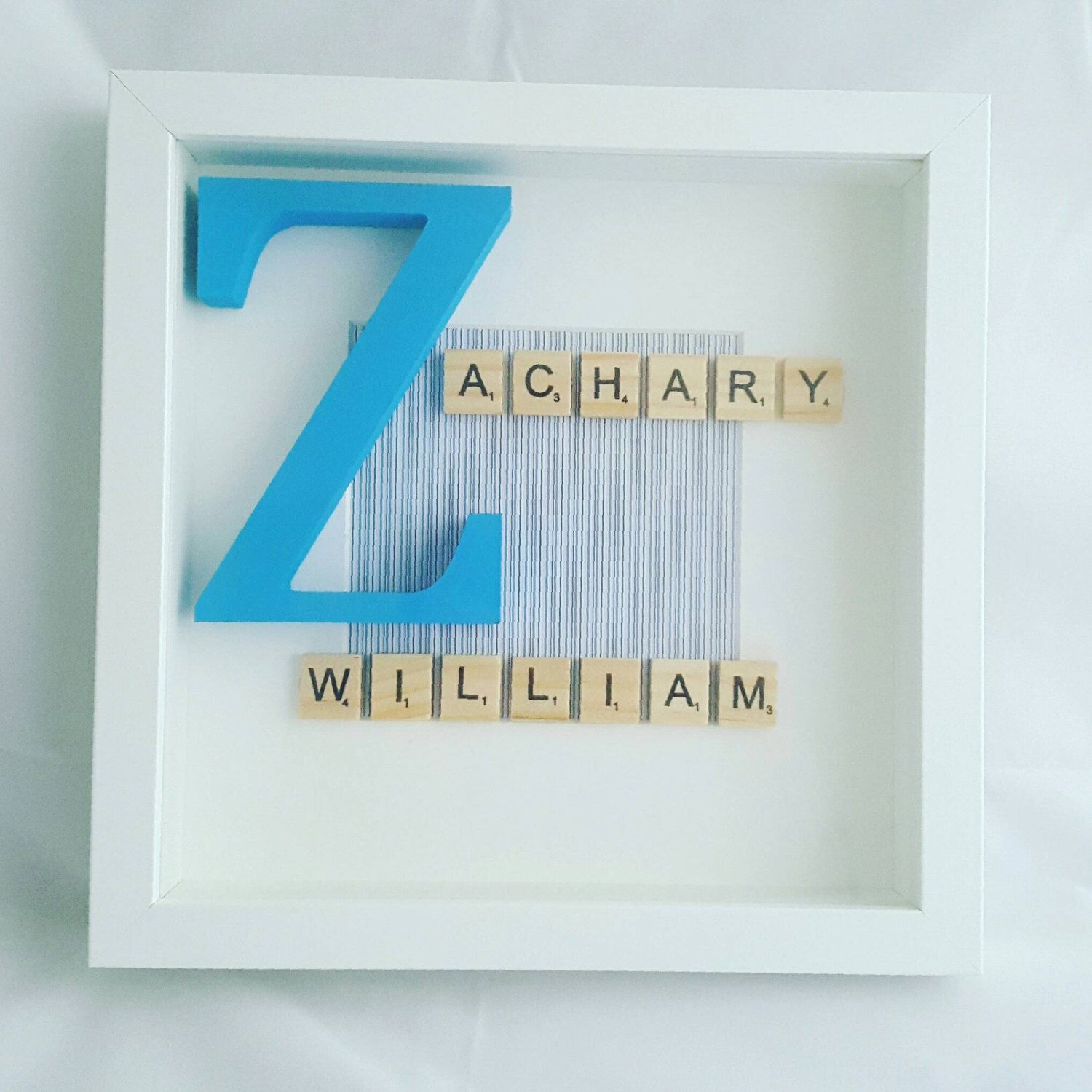 Scrabble tile name in a frame by on Etsy
