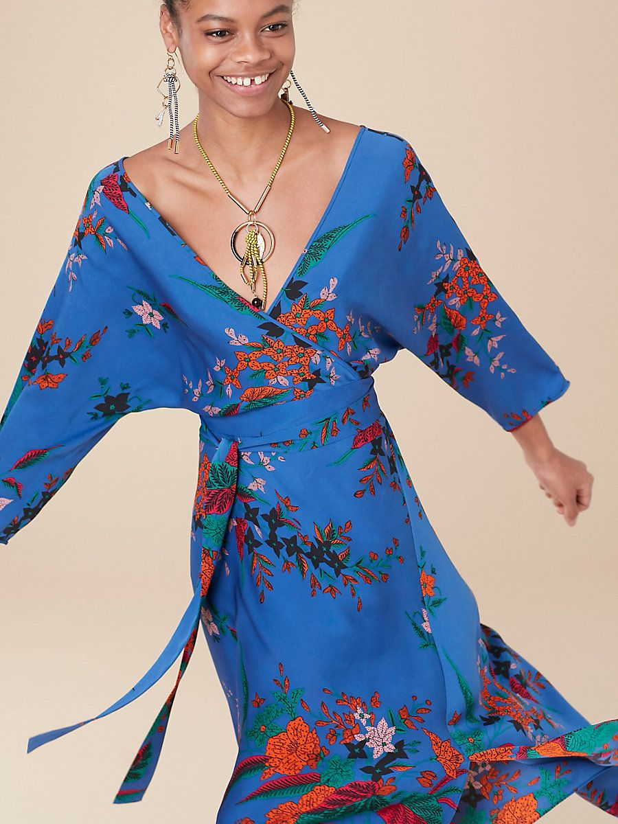 844ea46d3c Cut in 100% printed woven silk crepe de Chine, this asymmetric mini dress  is feminine and sophisticated. It features our custom Camden floral print  in cove ...