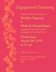 Engagement Invitation Card Indian