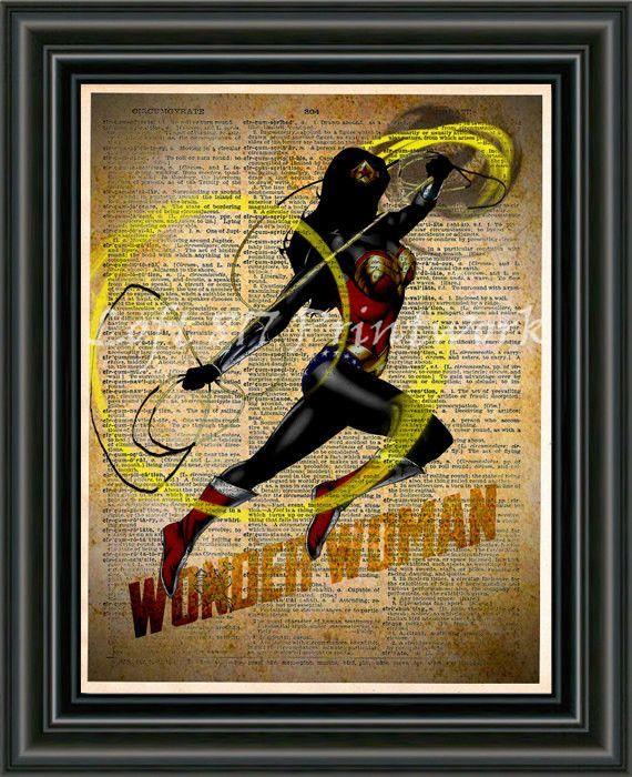 Wonder Woman Print, Wonder Woman wall art, Vintage pop art, Retro ...