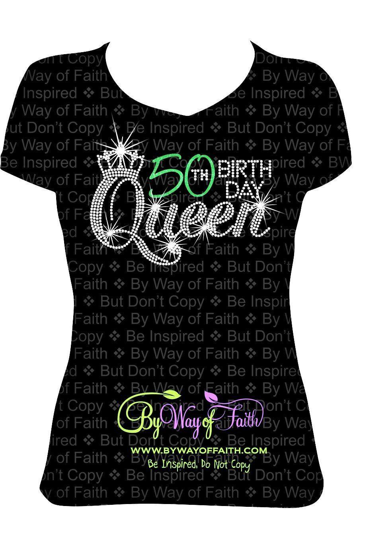 Birthday Queen Bling Rhinestone Glitter Shirt Birthday Girl