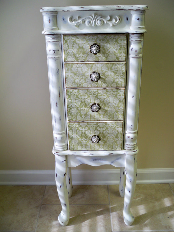 Sage and Cream Repurposed Jewelry Armoire Custom Made To Order