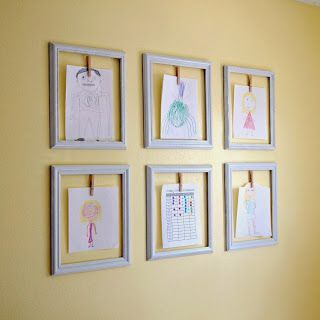quick, easy, and inexpensive solution to display (and rotate) children's ever growing collection of art.  Simple, cute, easy - problem solved!