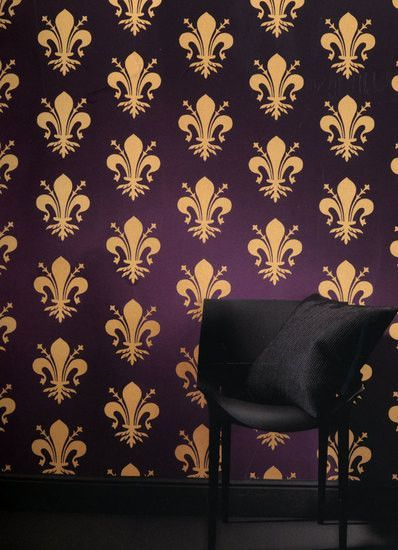 Spear Wallpaper in Purple and Gold from the Resplendent Collection by Burke Decor