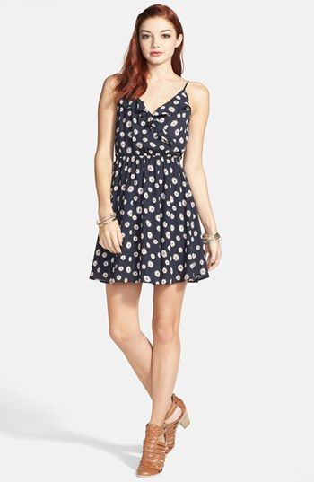 1d12e995ad34 Lush Floral Print Surplice Dress (Juniors)
