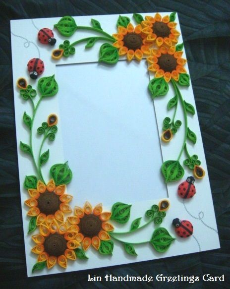 Lin handmade greetings card quilled sunflower photo frame also simple rh pinterest