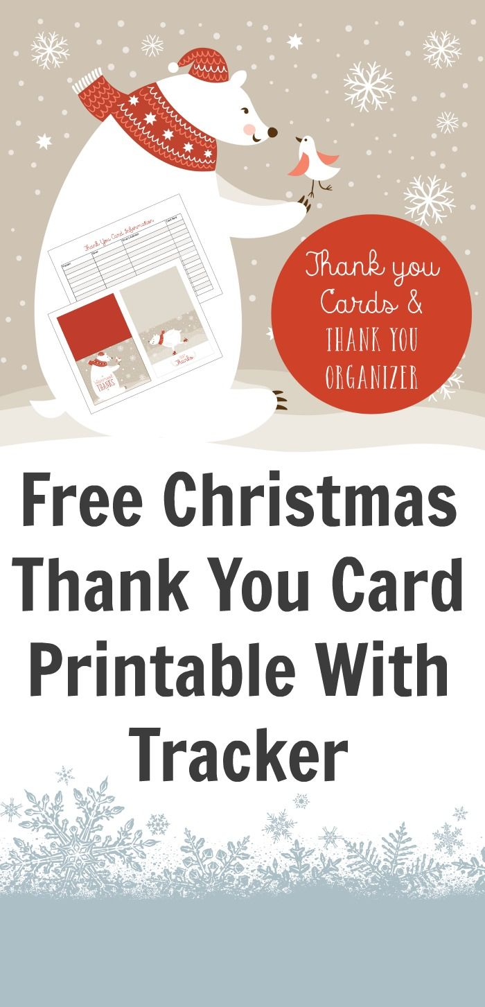 Free Christmas Thank You Card Printable With Tracker  Free Gift