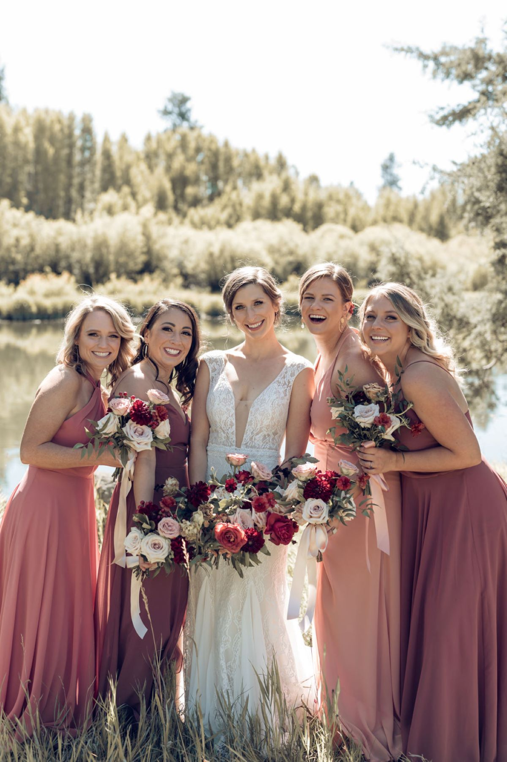 A Picturesque Lakeside Wedding Amongst The Trees In 2021 Blush Colored Bridesmaid Dresses Lakeside Wedding Blush Wedding Colors [ 1503 x 1000 Pixel ]