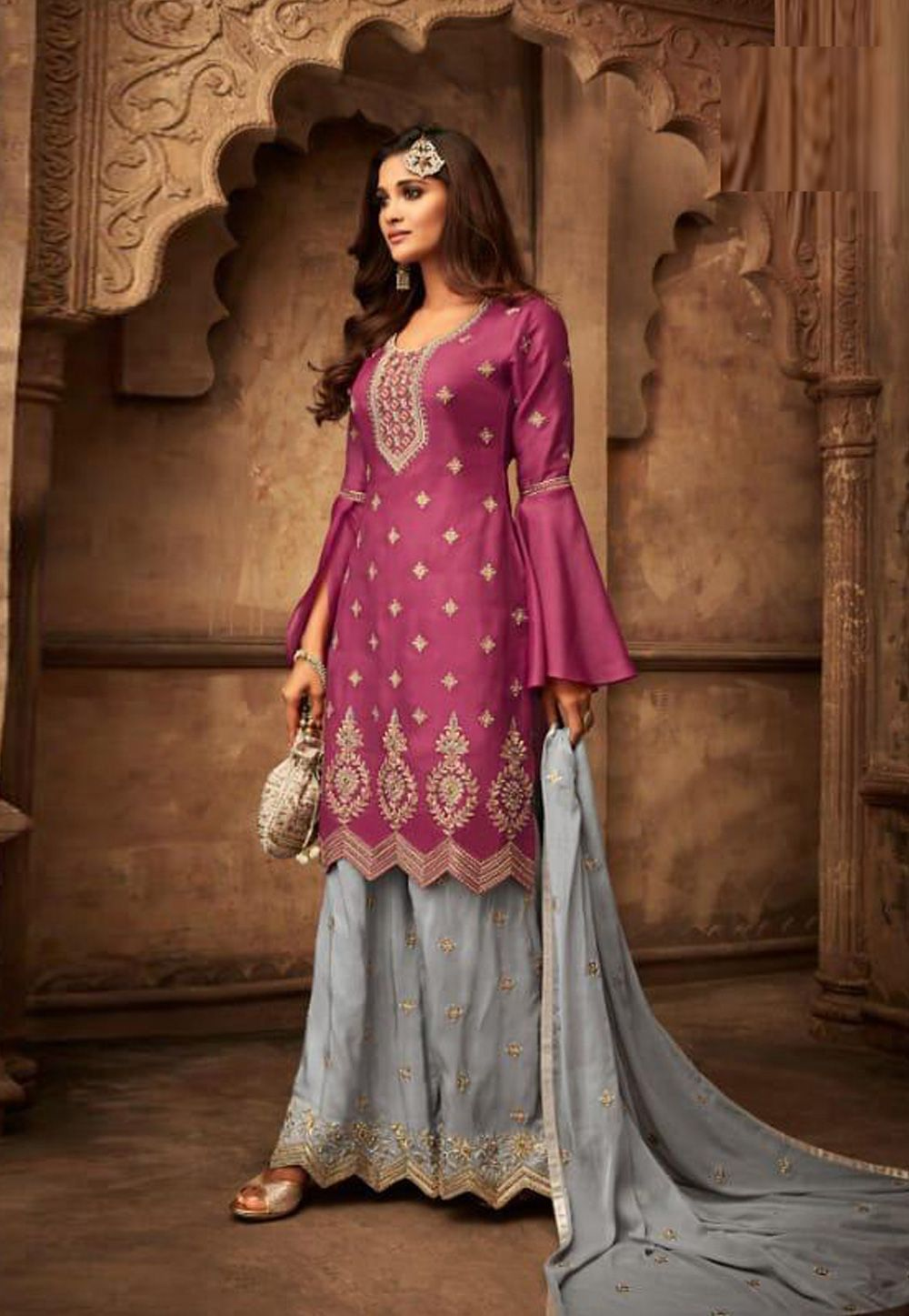 400ceddc444 Buy Magenta Silk Pakistani Style Suit 161730 online at lowest price from  huge collection of salwar kameez at Indianclothstore.com.