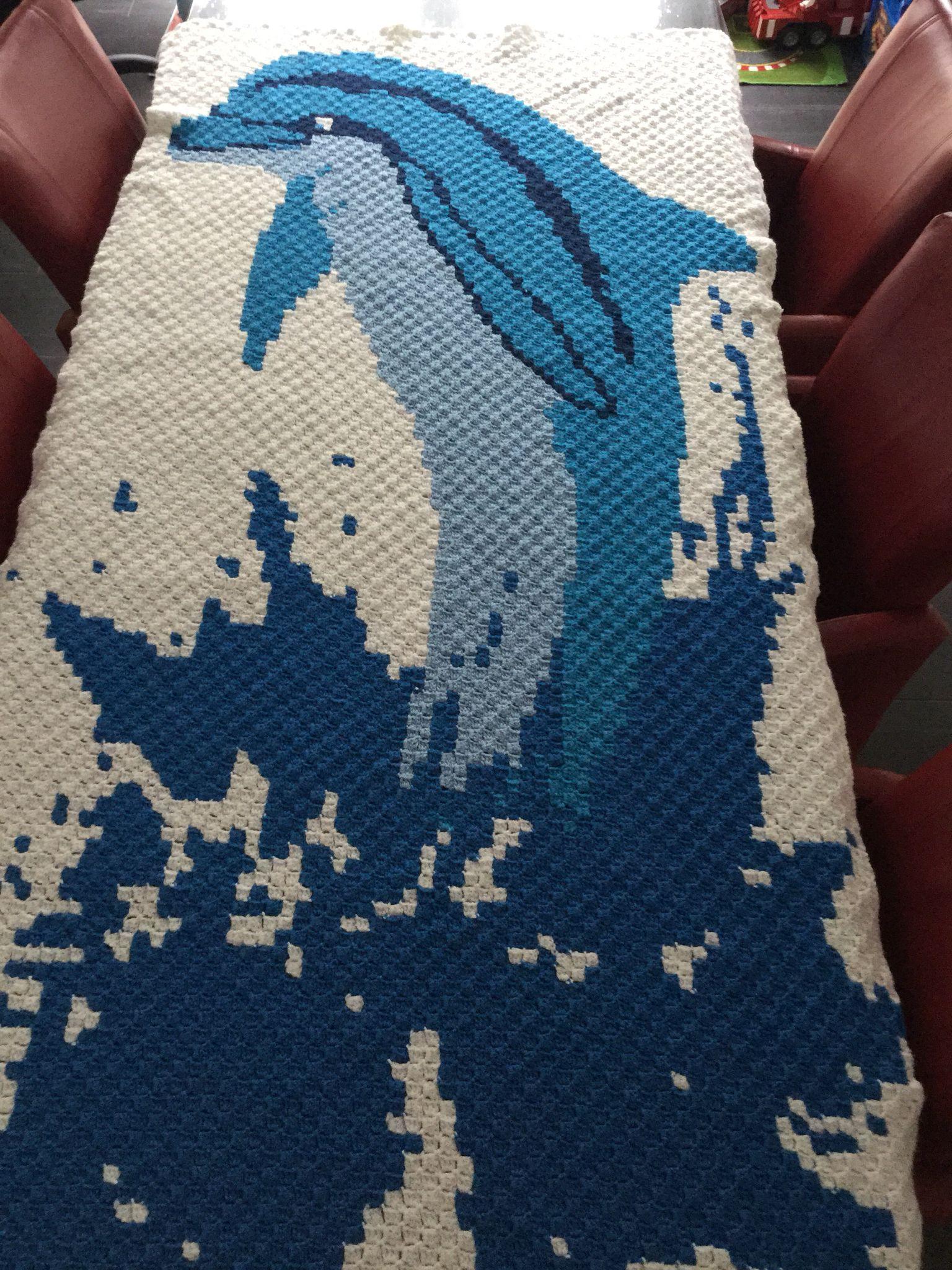C2c dolphin pixel blanket (afghan) | battaniye | Pinterest | Decken ...