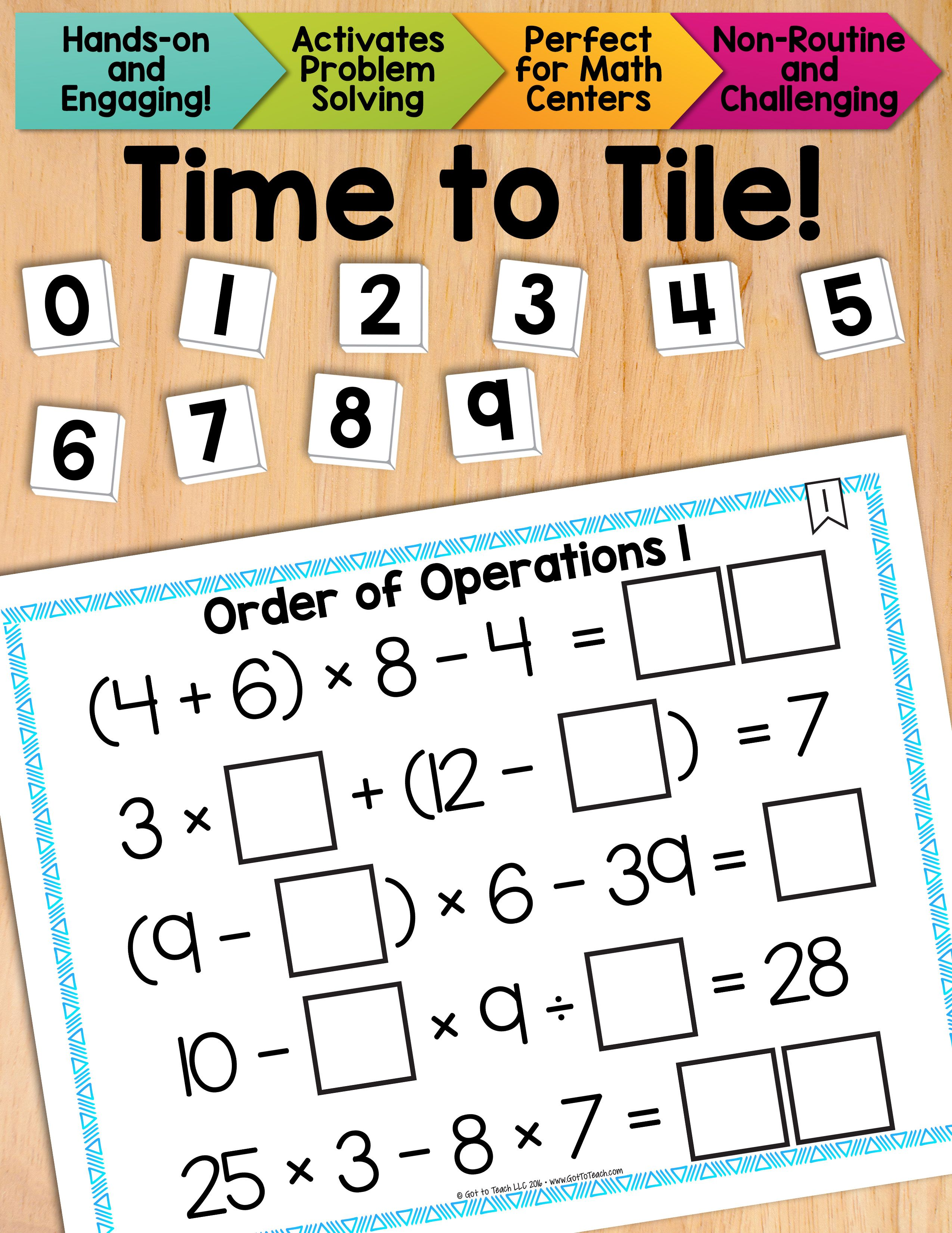 worksheet Order Of Operations Without Exponents math tiles order of operations 1 equations without exponents a fun