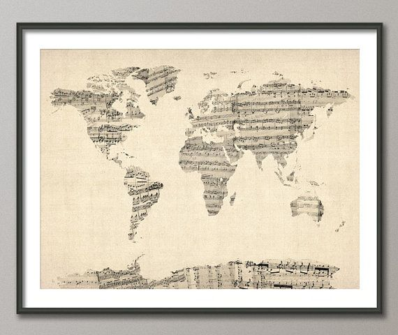 Map of the world made from sheet music | Home + Architecture ... Map Art Pinterest on map art diy, basketball party pinterest, summer arts and crafts pinterest, map art print, map art design, map art tumblr, alice in wonderland cake pinterest, map art flowers, map art love, map art google,