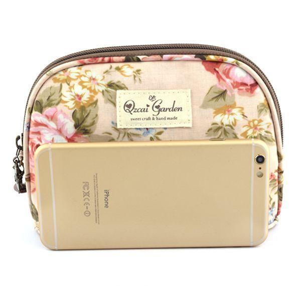 Women floral zipper cosmetic bags girls rural clutches bags