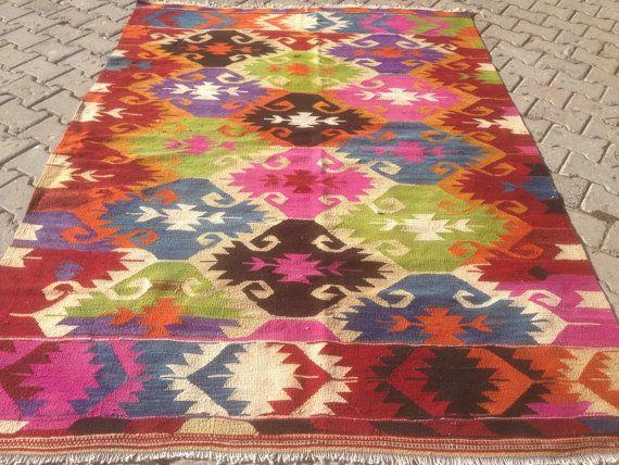 Turkische Kelim Teppich Boho Teppich Vintage Teppich Turkische