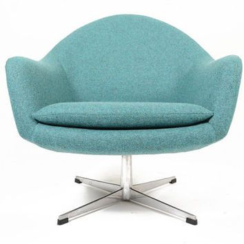 mid century swivel chair. Danish Mid Century Modern Teal Swivel Overman Style Lounge Chair