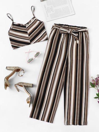 Top De Tirante De Rayas Con Pantalones Anchos Pantalones De Moda Mujer Ropa De Adolecentes Ropa De Moda De Ninas