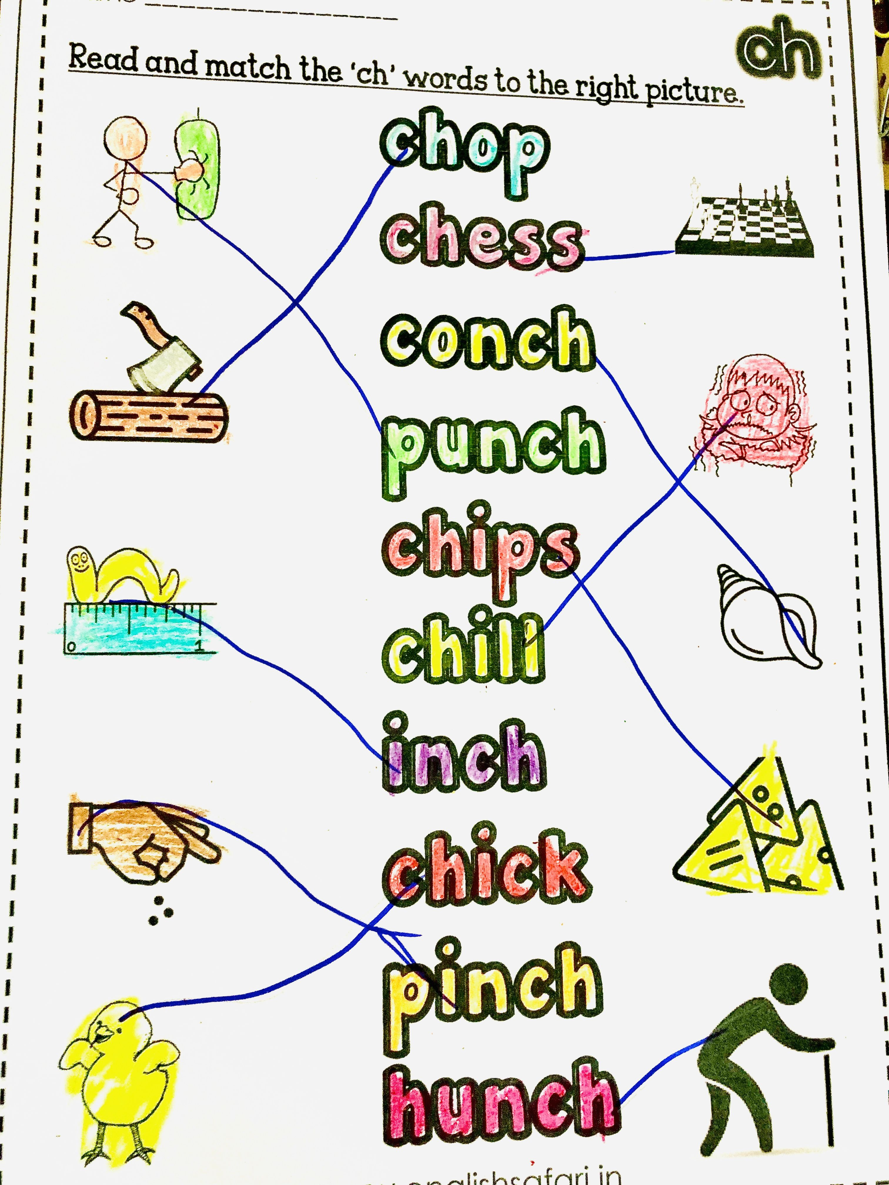 Read The Digraph Ch Words And Then Match It With The