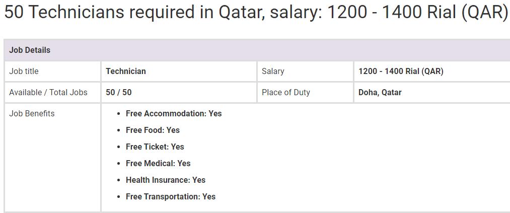 Technician Qatar Jobs Oct 2019 Jobs In Pakistan Job Overseas Jobs