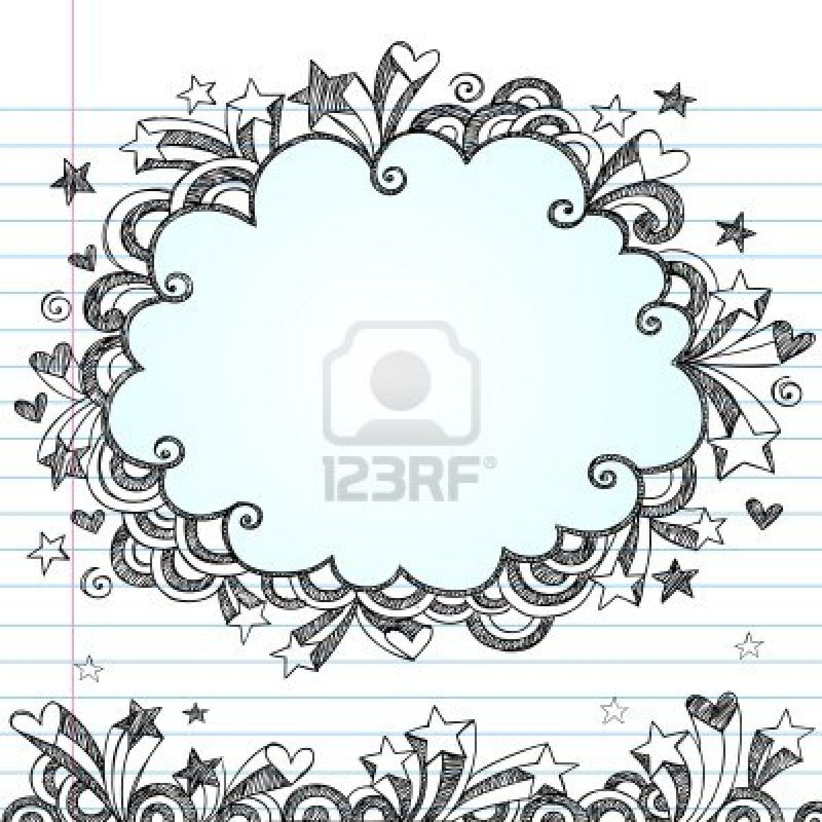 Cloud Frame Sketchy Doodle- Hand-Drawn Notebook Doodles Design ...