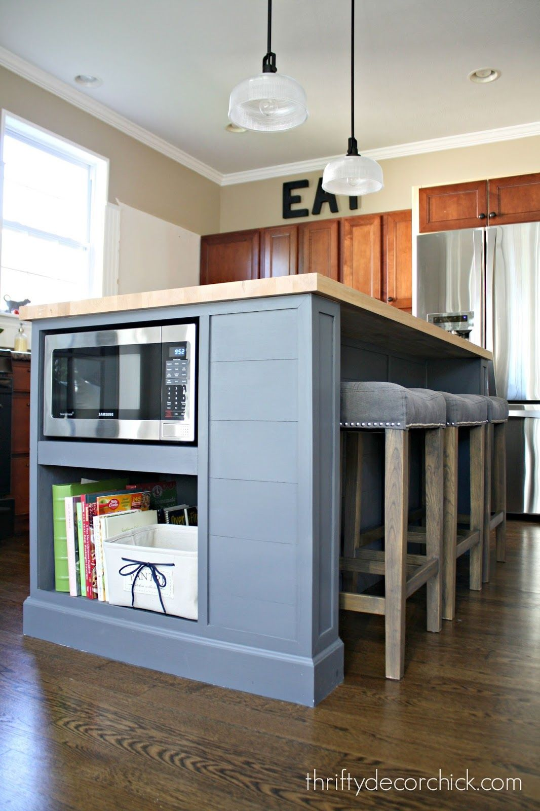 Adding Microwave In Island Put Door That Swings Up To Cover