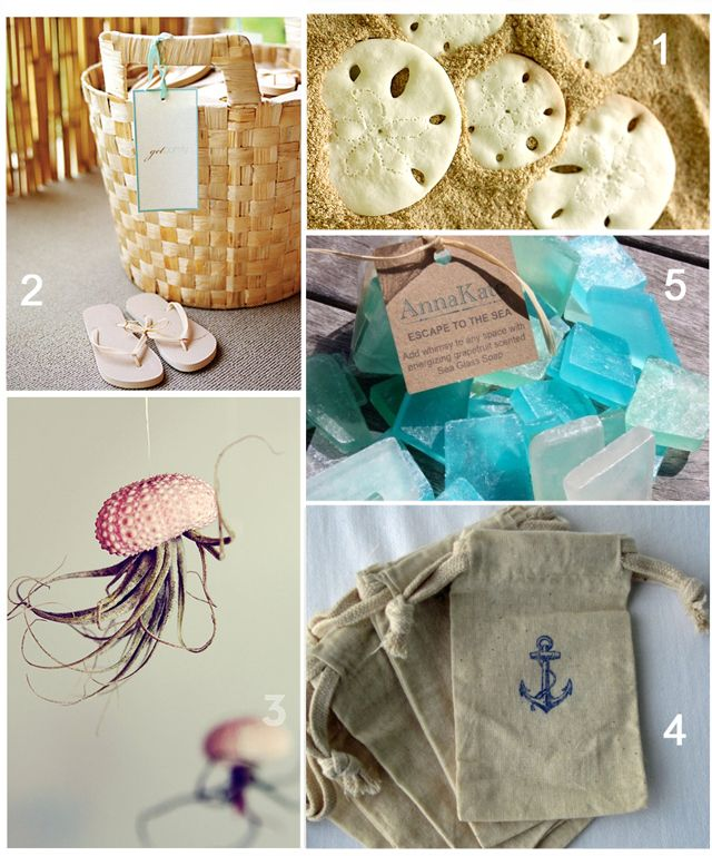 beach themed cookies   Bijou: Beachy Wedding Favors