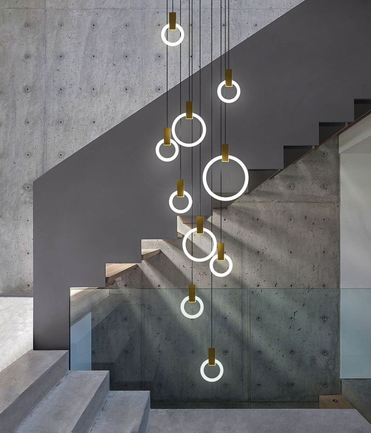 Halo Chandelier #chandelier #stairs