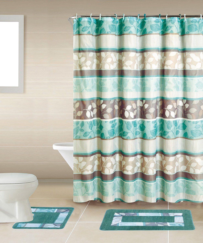 Zen Turquoise Brown 15 Piece Bathroom Accessory Set 2 Bath Mats