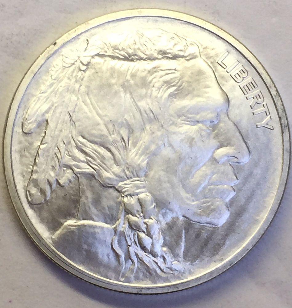 Indian Head Buffalo Silver Round 1 Oz 999 Pure Ag Gsm Silver Bullion Silver Bullion Silver Rounds Bullion